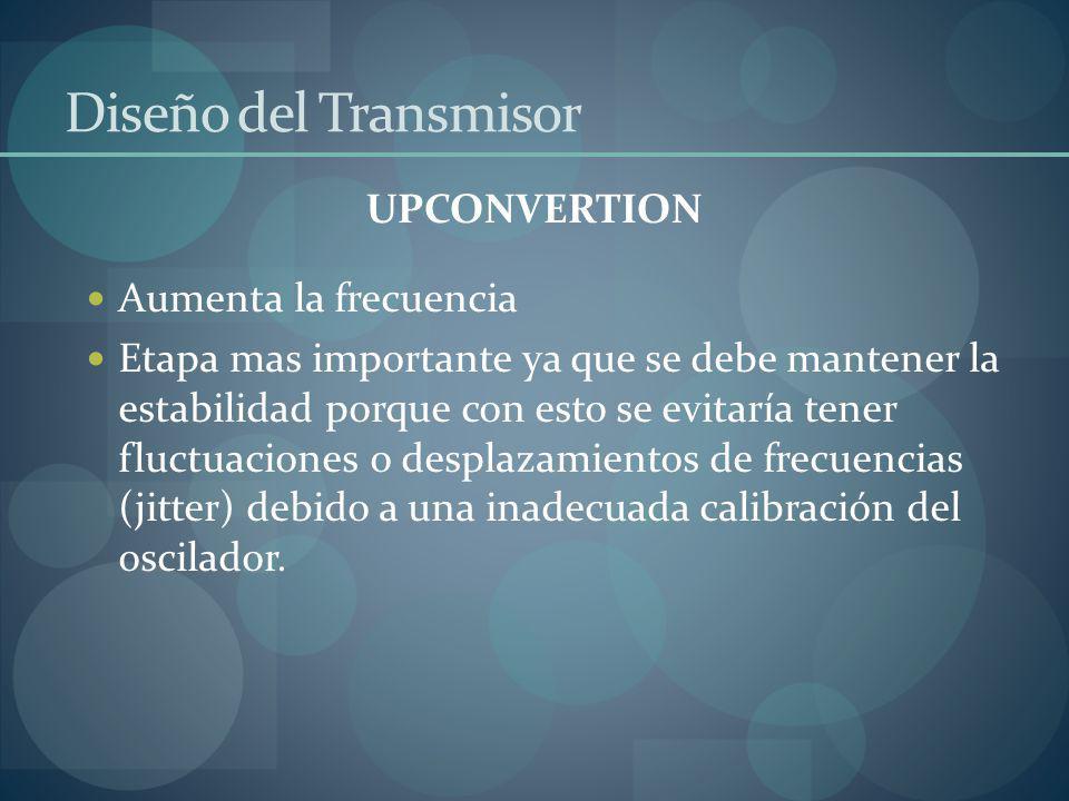 Diseño del Transmisor UPCONVERTION Aumenta la frecuencia