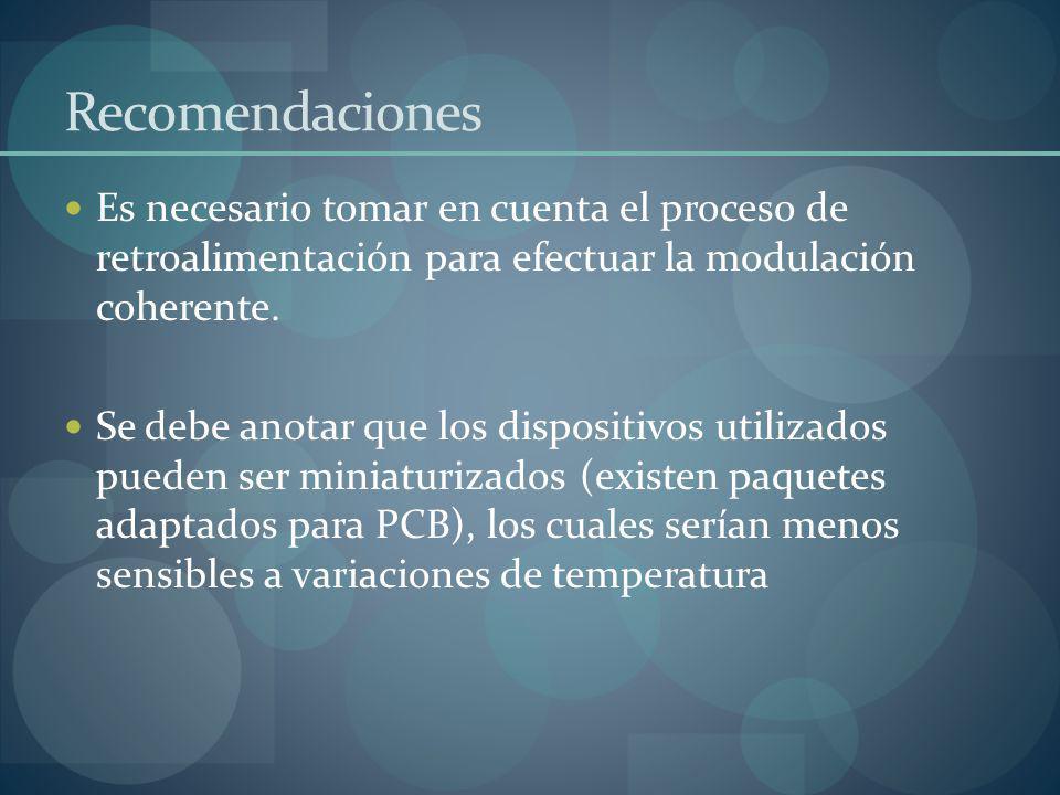 Recomendaciones Es necesario tomar en cuenta el proceso de retroalimentación para efectuar la modulación coherente.