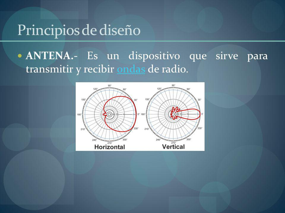 Principios de diseño ANTENA.- Es un dispositivo que sirve para transmitir y recibir ondas de radio.