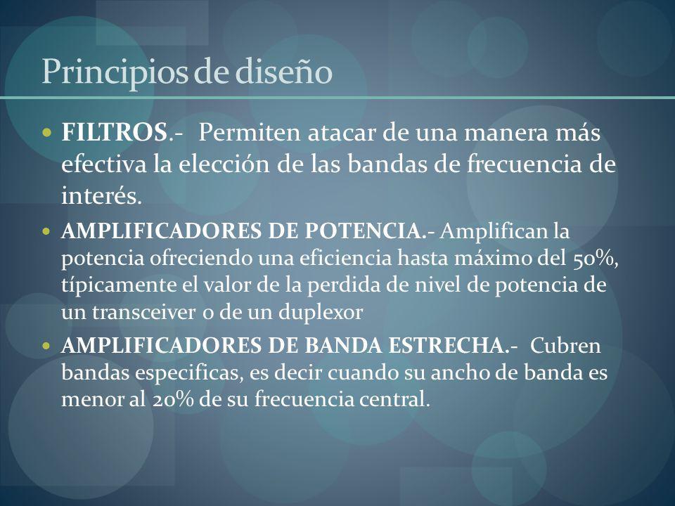 Principios de diseño FILTROS.- Permiten atacar de una manera más efectiva la elección de las bandas de frecuencia de interés.