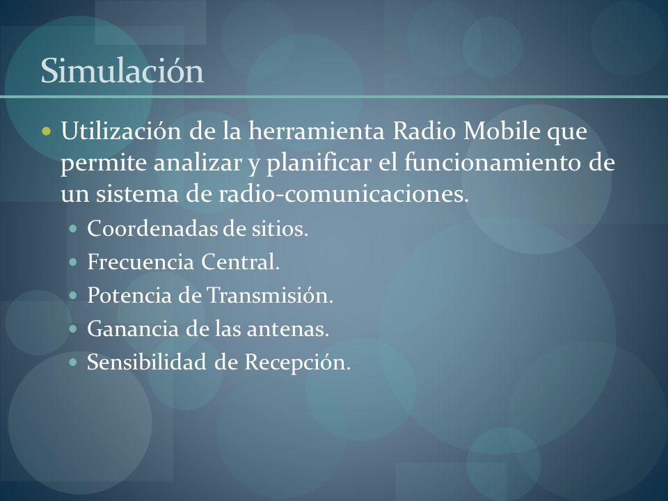 Simulación Utilización de la herramienta Radio Mobile que permite analizar y planificar el funcionamiento de un sistema de radio-comunicaciones.