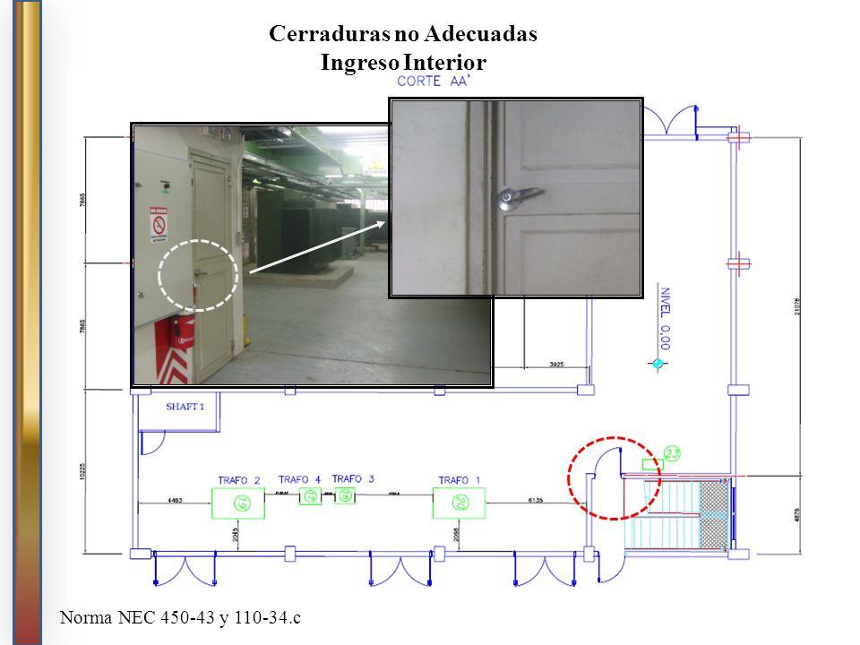 Cerraduras no Adecuadas Ingreso Interior