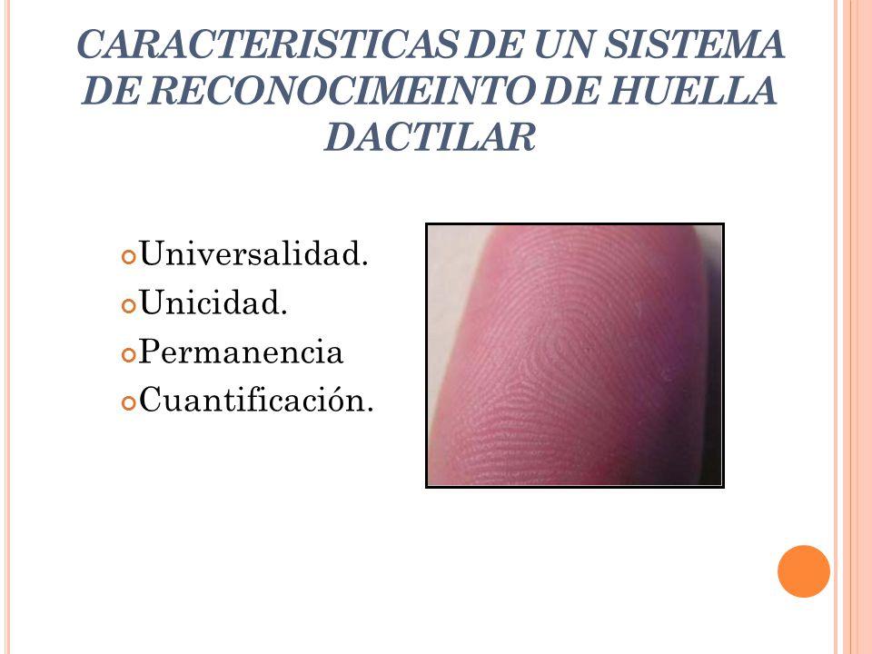 CARACTERISTICAS DE UN SISTEMA DE RECONOCIMEINTO DE HUELLA DACTILAR