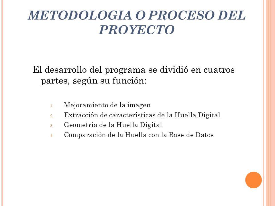 METODOLOGIA O PROCESO DEL PROYECTO
