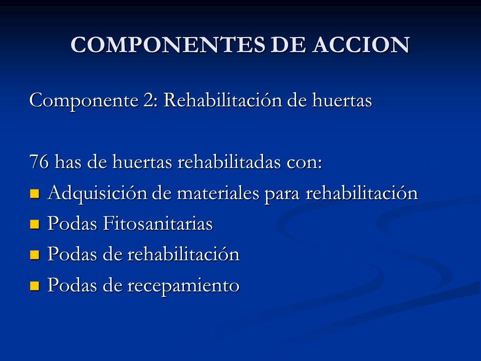 COMPONENTES DE ACCION Componente 2: Rehabilitación de huertas