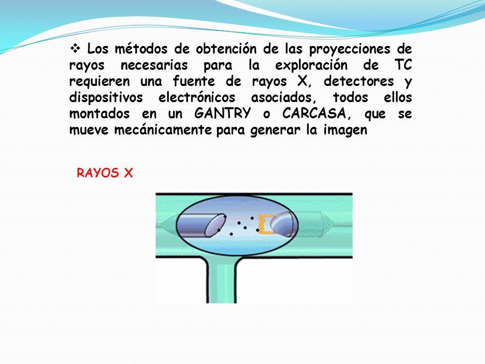 Los métodos de obtención de las proyecciones de rayos necesarias para la exploración de TC requieren una fuente de rayos X, detectores y dispositivos electrónicos asociados, todos ellos montados en un GANTRY o CARCASA, que se mueve mecánicamente para generar la imagen