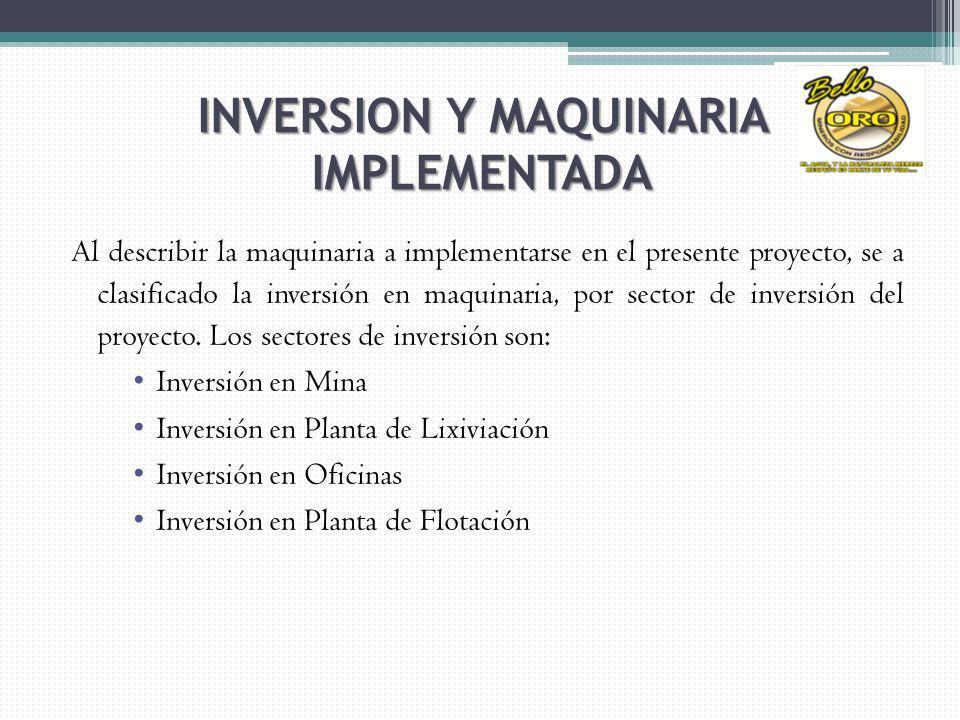 INVERSION Y MAQUINARIA IMPLEMENTADA
