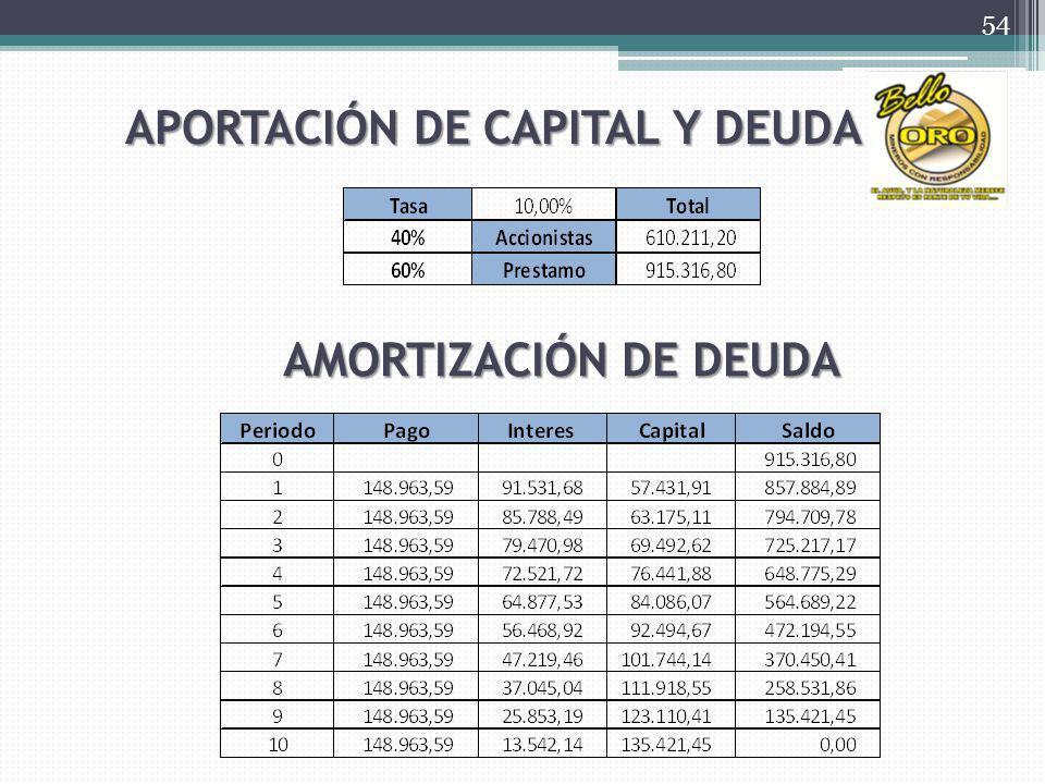 APORTACIÓN DE CAPITAL Y DEUDA