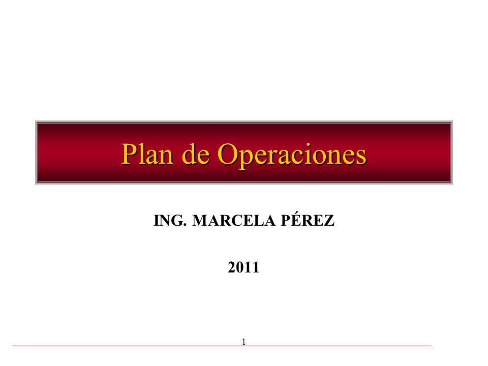 Plan de Operaciones ING. MARCELA PÉREZ 2011