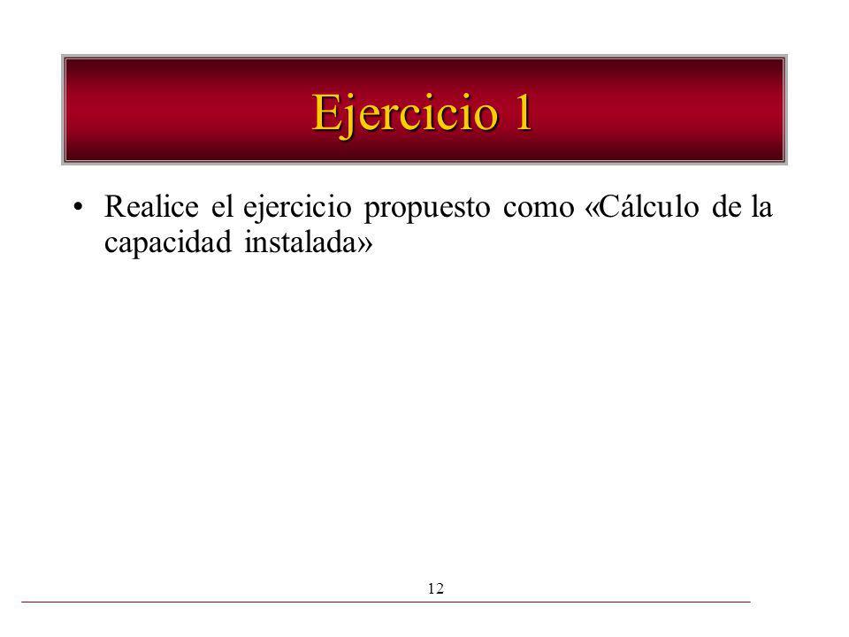 Ejercicio 1 Realice el ejercicio propuesto como «Cálculo de la capacidad instalada»