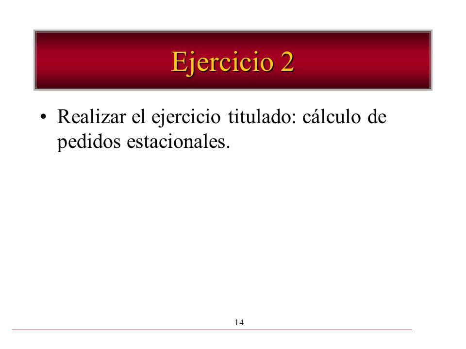 Ejercicio 2 Realizar el ejercicio titulado: cálculo de pedidos estacionales.