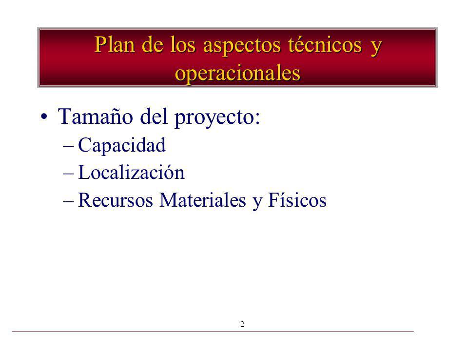Plan de los aspectos técnicos y operacionales