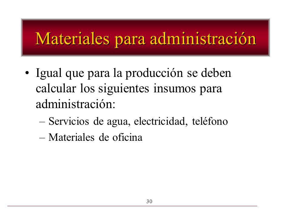 Materiales para administración