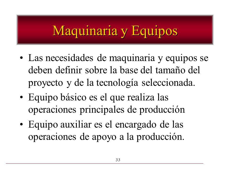 Maquinaria y Equipos Las necesidades de maquinaria y equipos se deben definir sobre la base del tamaño del proyecto y de la tecnología seleccionada.