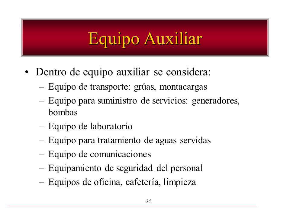 Equipo Auxiliar Dentro de equipo auxiliar se considera: