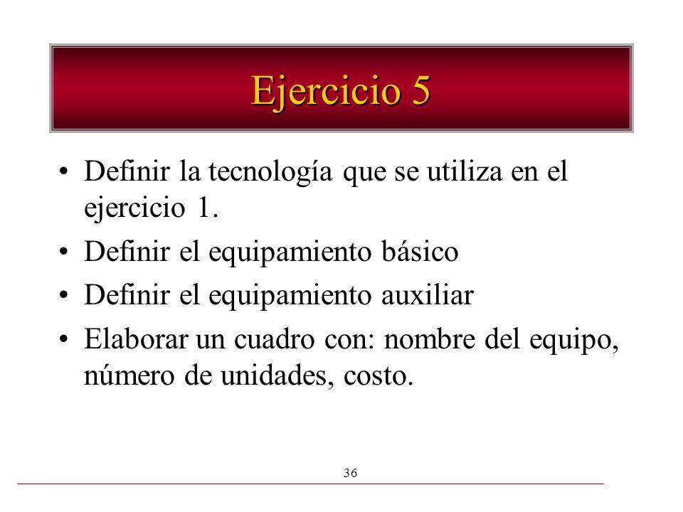 Ejercicio 5 Definir la tecnología que se utiliza en el ejercicio 1.