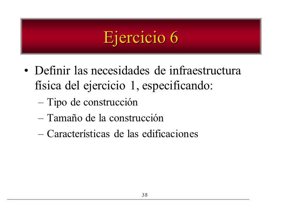 Ejercicio 6 Definir las necesidades de infraestructura física del ejercicio 1, especificando: Tipo de construcción.