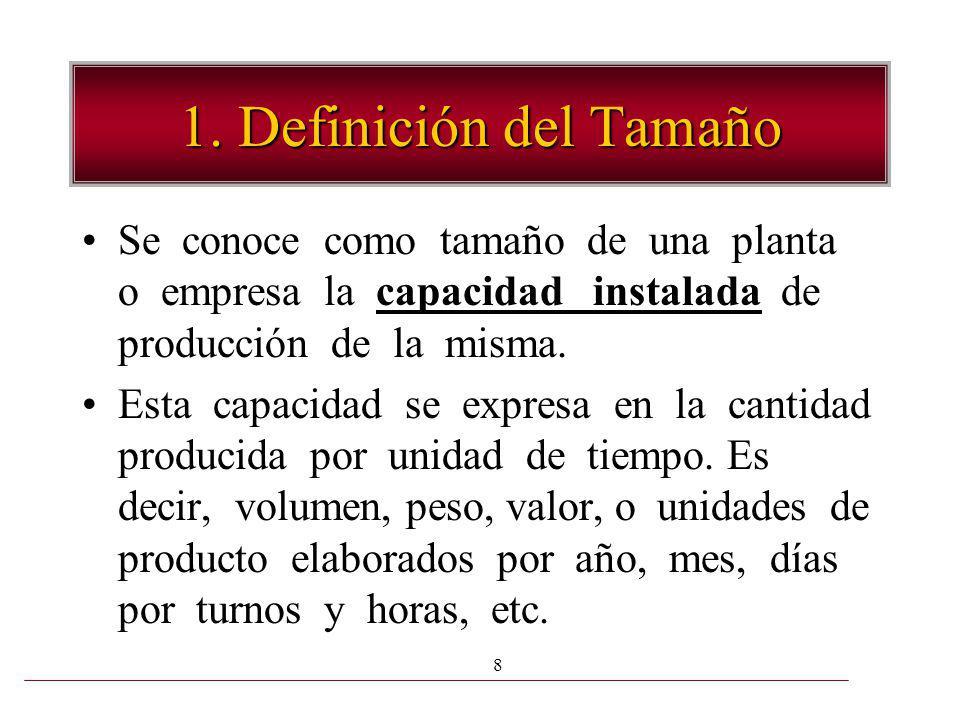 1. Definición del Tamaño Se conoce como tamaño de una planta o empresa la capacidad instalada de producción de la misma.