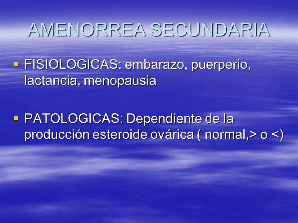 AMENORREA SECUNDARIA FISIOLOGICAS: embarazo, puerperio, lactancia, menopausia.