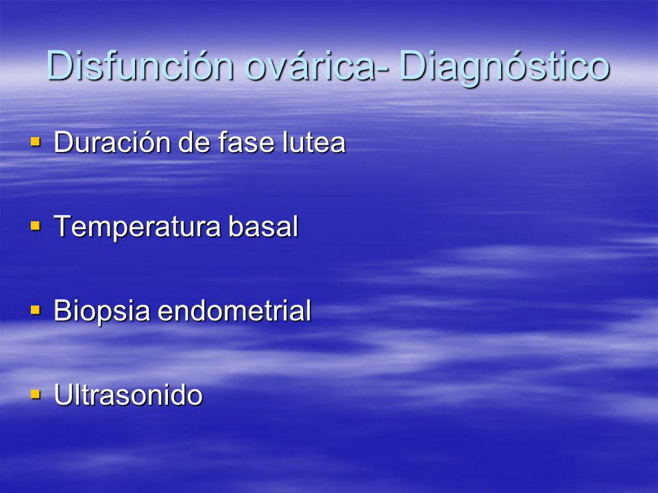 Disfunción ovárica- Diagnóstico
