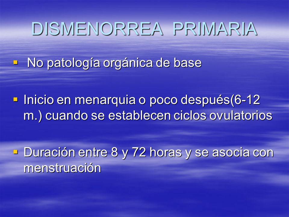 DISMENORREA PRIMARIA No patología orgánica de base