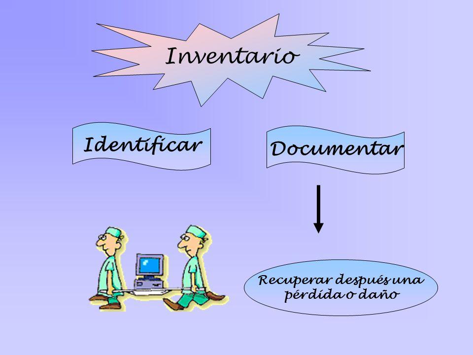 Inventario Identificar Documentar Recuperar después una pérdida o daño