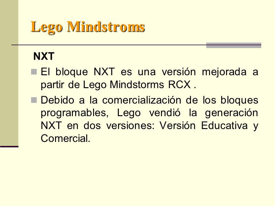 Lego Mindstroms NXT. El bloque NXT es una versión mejorada a partir de Lego Mindstorms RCX .