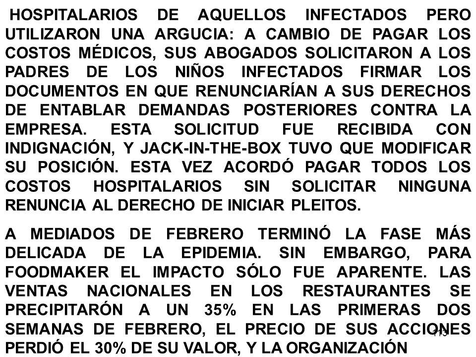 HOSPITALARIOS DE AQUELLOS INFECTADOS PERO UTILIZARON UNA ARGUCIA: A CAMBIO DE PAGAR LOS COSTOS MÉDICOS, SUS ABOGADOS SOLICITARON A LOS PADRES DE LOS NIÑOS INFECTADOS FIRMAR LOS DOCUMENTOS EN QUE RENUNCIARÍAN A SUS DERECHOS DE ENTABLAR DEMANDAS POSTERIORES CONTRA LA EMPRESA. ESTA SOLICITUD FUE RECIBIDA CON INDIGNACIÓN, Y JACK-IN-THE-BOX TUVO QUE MODIFICAR SU POSICIÓN. ESTA VEZ ACORDÓ PAGAR TODOS LOS COSTOS HOSPITALARIOS SIN SOLICITAR NINGUNA RENUNCIA AL DERECHO DE INICIAR PLEITOS.