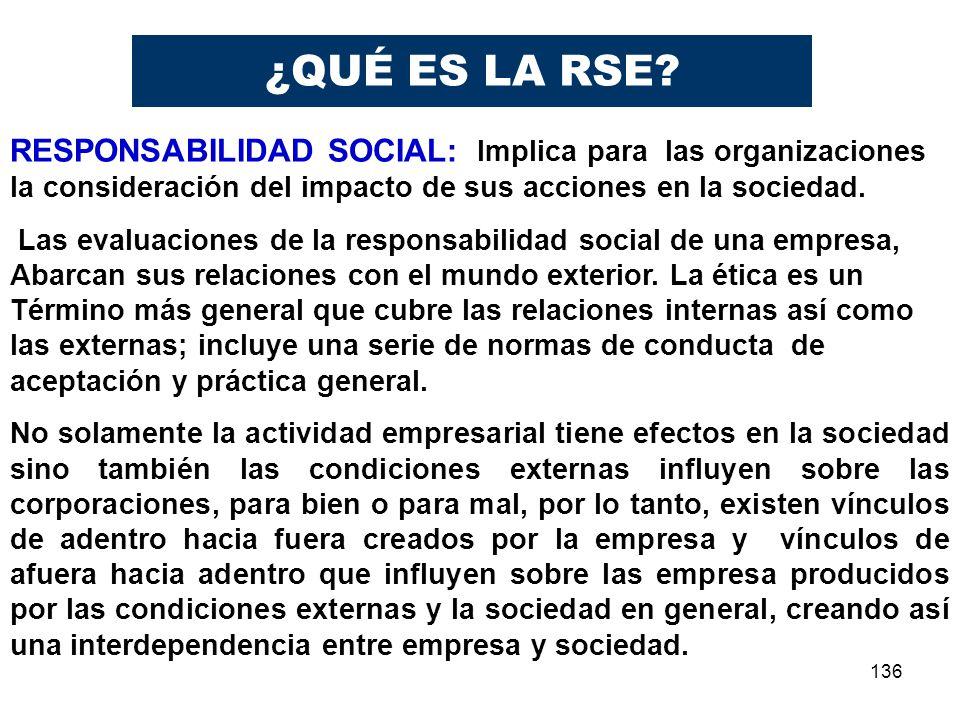 ¿QUÉ ES LA RSE RESPONSABILIDAD SOCIAL: Implica para las organizaciones la consideración del impacto de sus acciones en la sociedad.
