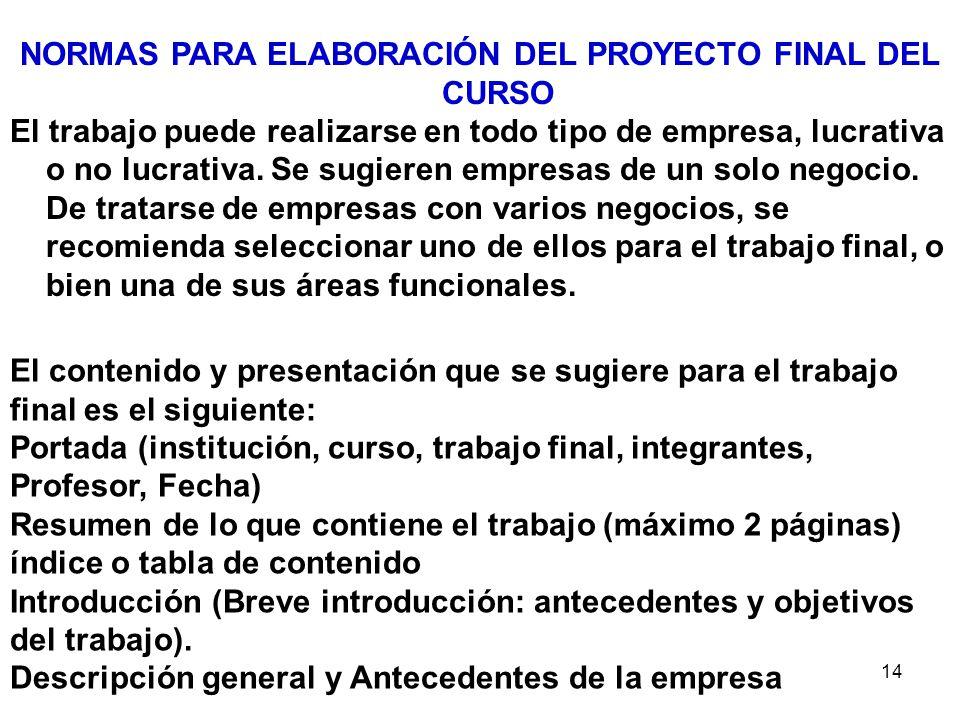 NORMAS PARA ELABORACIÓN DEL PROYECTO FINAL DEL CURSO