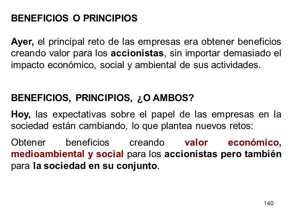 BENEFICIOS O PRINCIPIOS