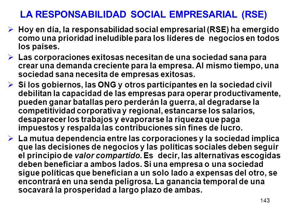 LA RESPONSABILIDAD SOCIAL EMPRESARIAL (RSE)