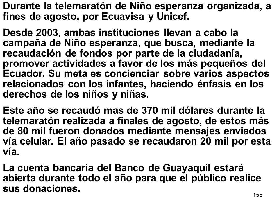 Durante la telemaratón de Niño esperanza organizada, a fines de agosto, por Ecuavisa y Unicef.