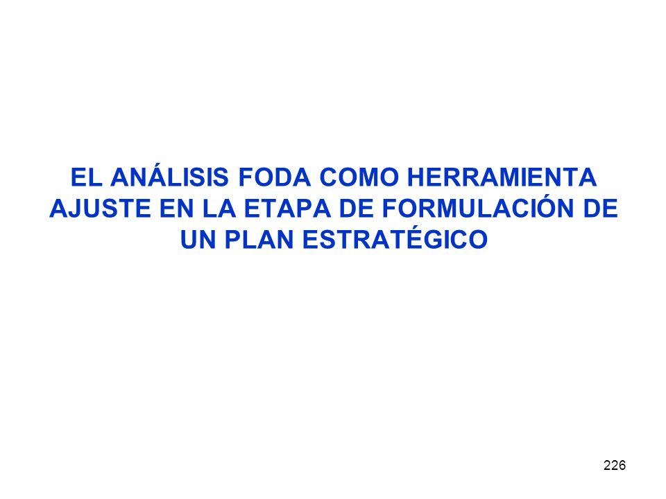 EL ANÁLISIS FODA COMO HERRAMIENTA AJUSTE EN LA ETAPA DE FORMULACIÓN DE UN PLAN ESTRATÉGICO