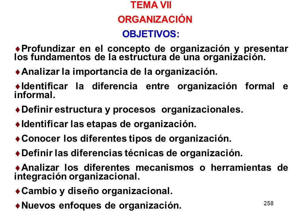 TEMA VII ORGANIZACIÓN OBJETIVOS:
