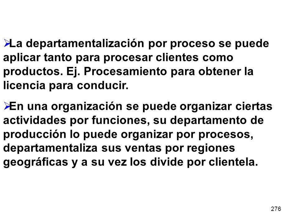 La departamentalización por proceso se puede aplicar tanto para procesar clientes como productos. Ej. Procesamiento para obtener la licencia para conducir.