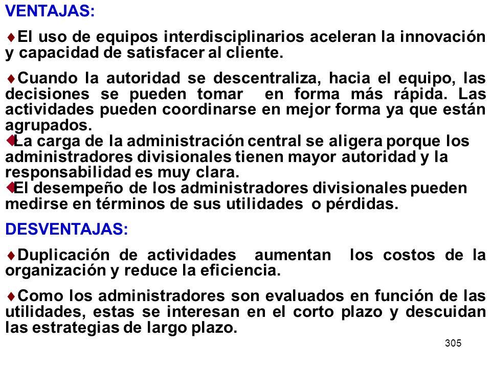 VENTAJAS: El uso de equipos interdisciplinarios aceleran la innovación y capacidad de satisfacer al cliente.