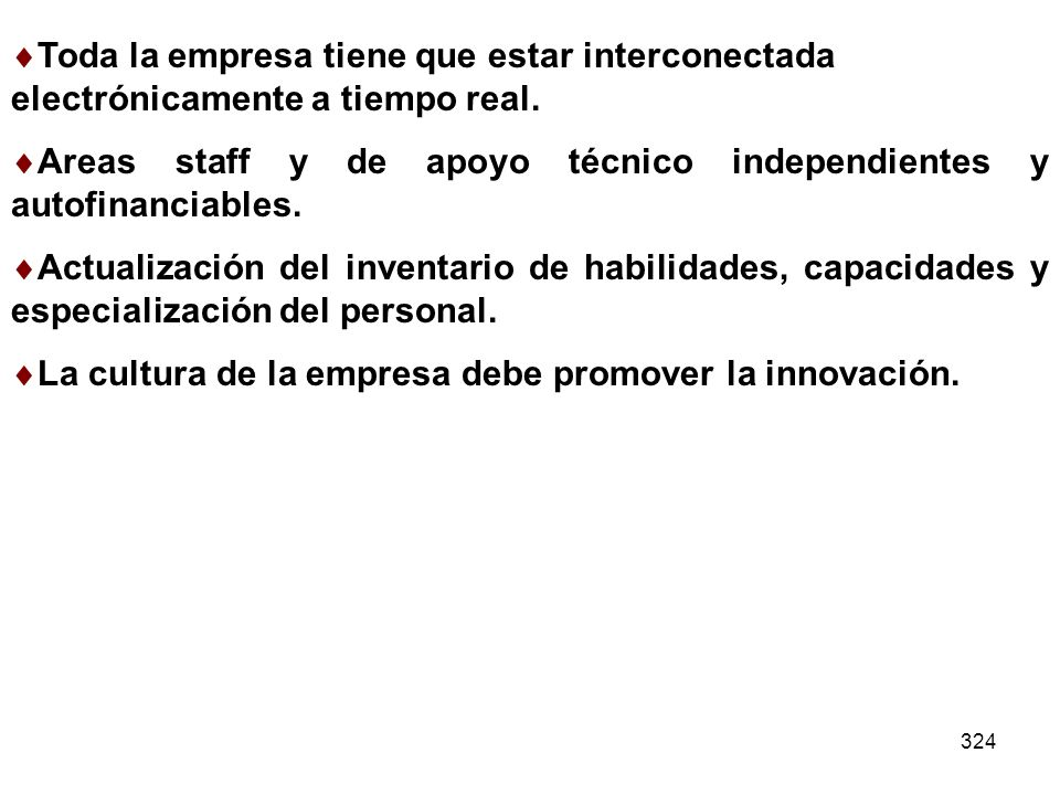 Areas staff y de apoyo técnico independientes y autofinanciables.