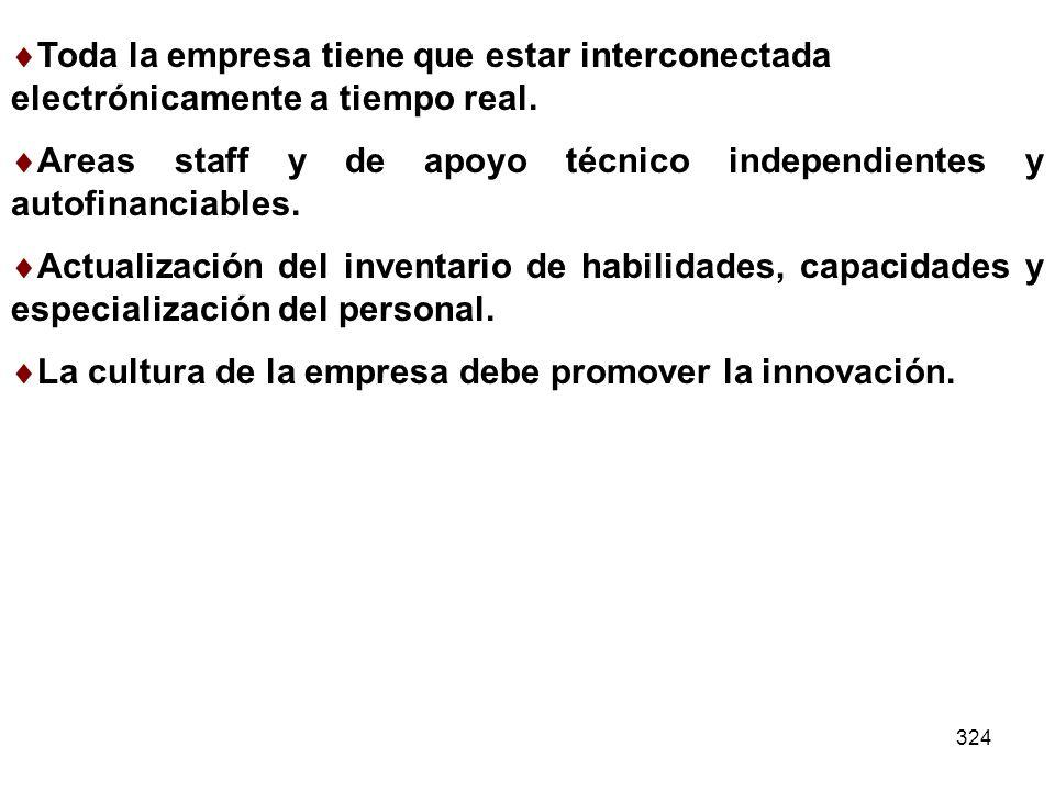 Areas staff y de apoyo técnico independientes y autofinanciables.