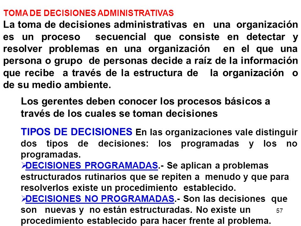 TOMA DE DECISIONES ADMINISTRATIVAS