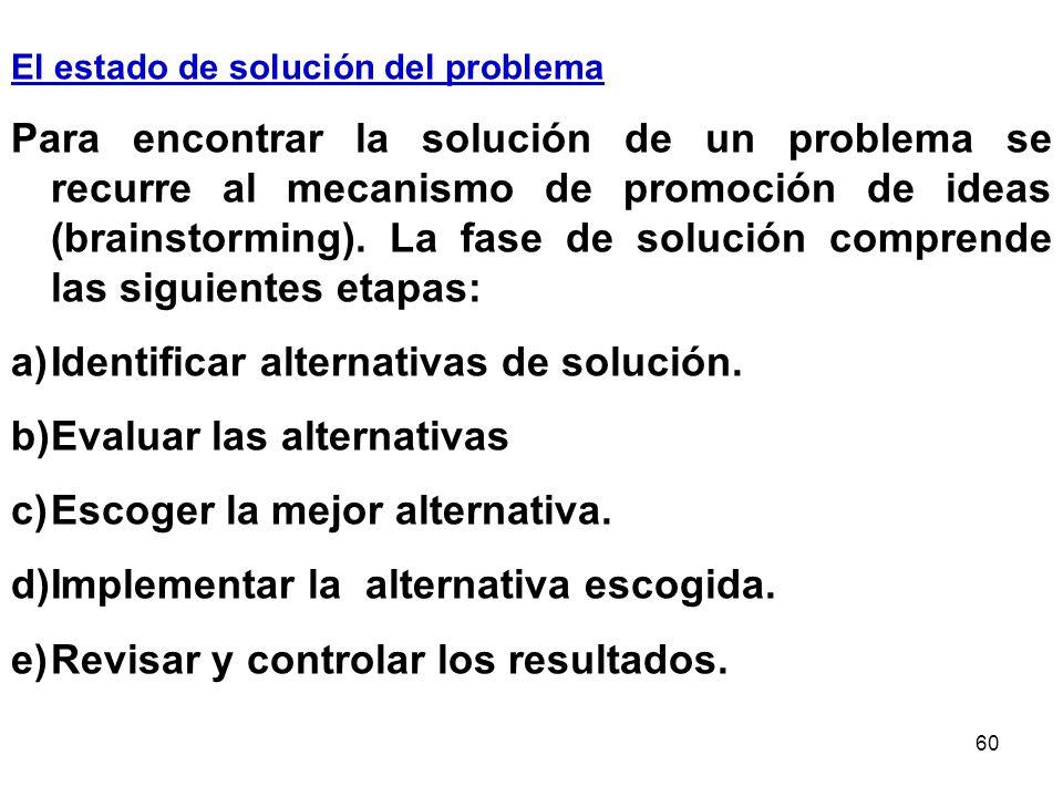 Identificar alternativas de solución. Evaluar las alternativas