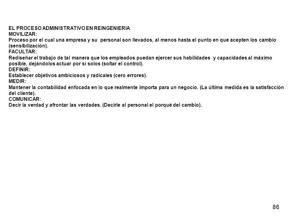 86 EL PROCESO ADMINISTRATIVO EN REINGENIERIA MOVILIZAR: