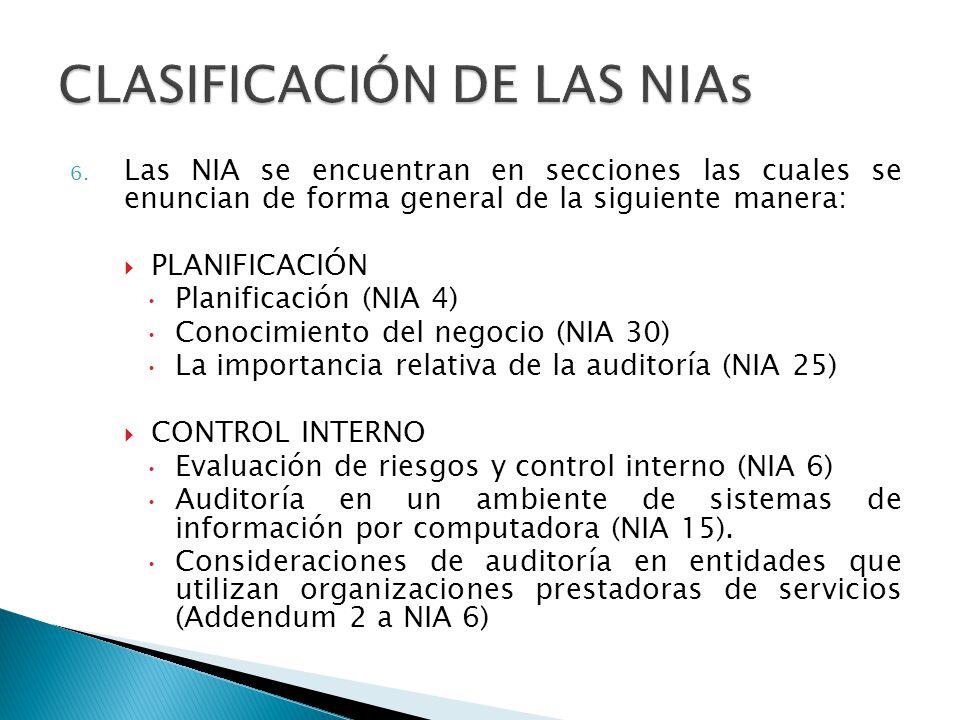 CLASIFICACIÓN DE LAS NIAs