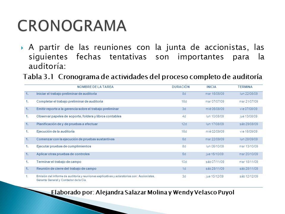 Tabla 3.1 Cronograma de actividades del proceso completo de auditoría
