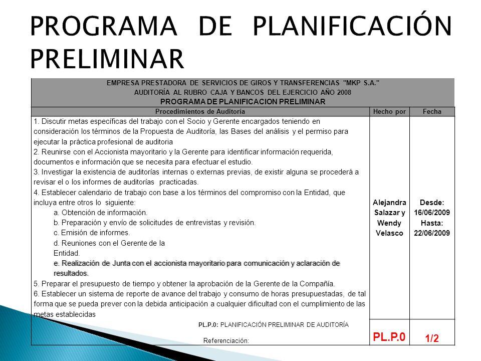 PROGRAMA DE PLANIFICACIÓN PRELIMINAR