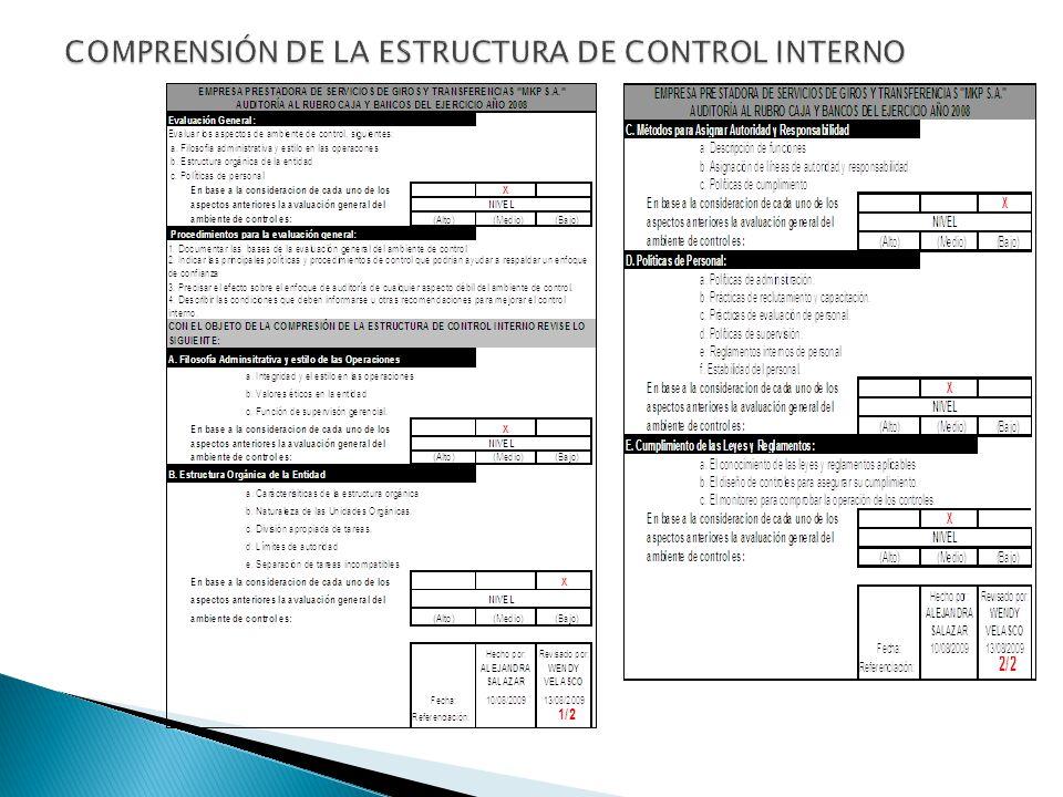 COMPRENSIÓN DE LA ESTRUCTURA DE CONTROL INTERNO