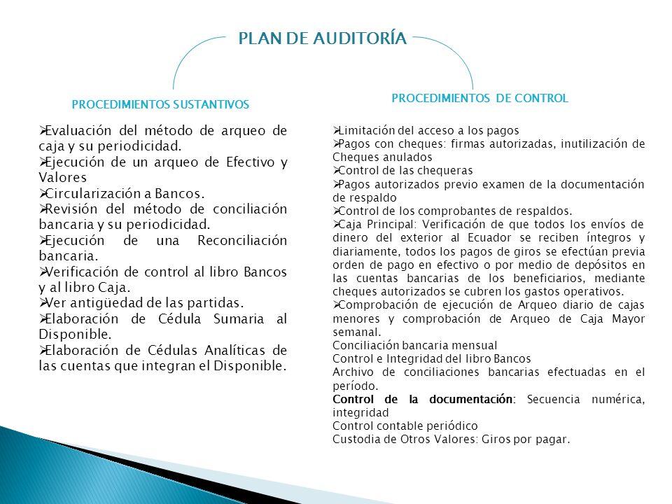 PROCEDIMIENTOS DE CONTROL PROCEDIMIENTOS SUSTANTIVOS