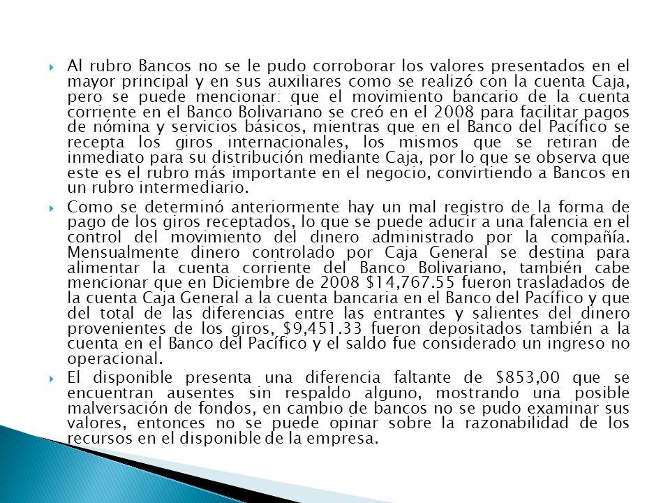 Al rubro Bancos no se le pudo corroborar los valores presentados en el mayor principal y en sus auxiliares como se realizó con la cuenta Caja, pero se puede mencionar: que el movimiento bancario de la cuenta corriente en el Banco Bolivariano se creó en el 2008 para facilitar pagos de nómina y servicios básicos, mientras que en el Banco del Pacífico se recepta los giros internacionales, los mismos que se retiran de inmediato para su distribución mediante Caja, por lo que se observa que este es el rubro más importante en el negocio, convirtiendo a Bancos en un rubro intermediario.