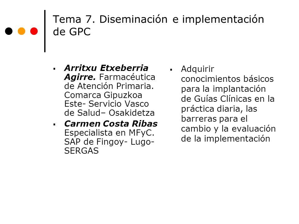 Tema 7. Diseminación e implementación de GPC