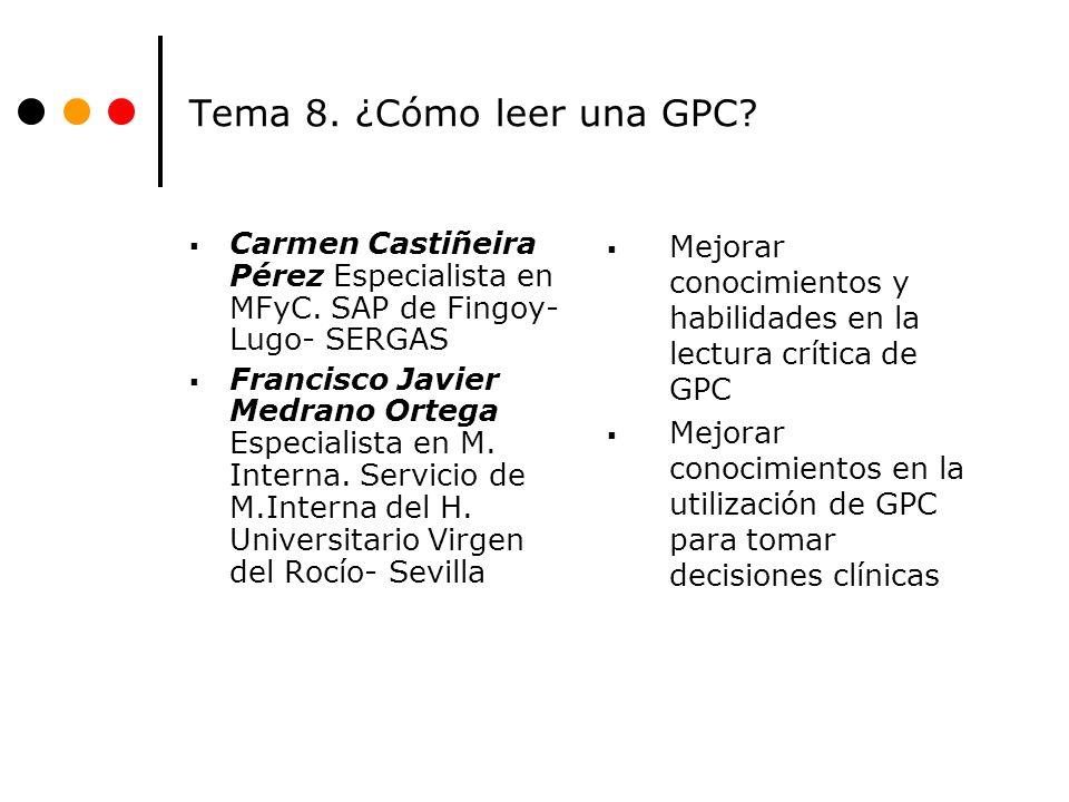 Tema 8. ¿Cómo leer una GPC Carmen Castiñeira Pérez Especialista en MFyC. SAP de Fingoy- Lugo- SERGAS.
